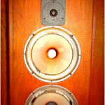 Old blown speakers in a wooden speaker box