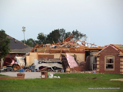 home damaged by tornado